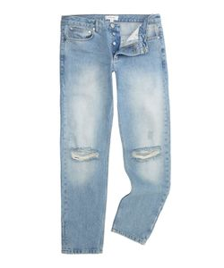 Soulland | Mens Erik Vintage Blue Regular Fit Ripped Knee Jean