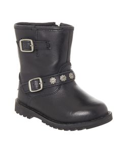 UGG | Newborn Hannah Leather Boot With Logo Strap