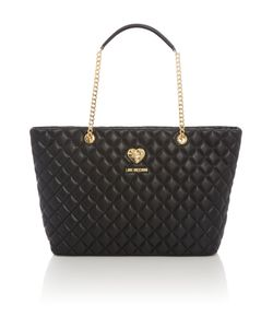 Love Moschino | Superquilt Black Large Chain Shoulder Tote Bag