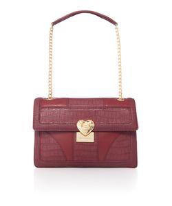 Love Moschino | Moc Croc Red Medium Flapover Shoulder Bag
