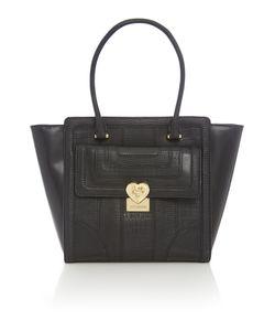 Love Moschino | Moc Croc Black Tote Bag