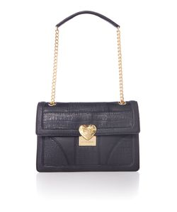 Love Moschino | Moc Croc Black Medium Flapover Shoulder Bag