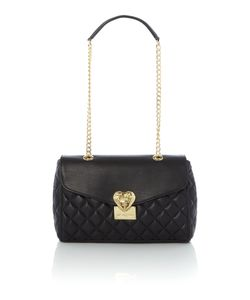 Love Moschino | Superquilt Black Medium Flapover Shoulder Bag