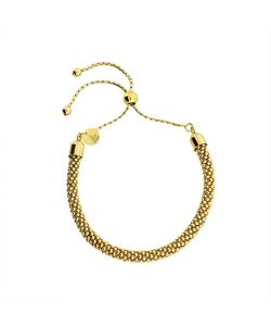 Azendi   Gold Vermeil Adjustable Popcorn Chain Bracelet