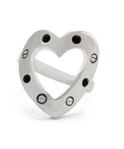 Libertine | Rhodium Crystal Heart Ring