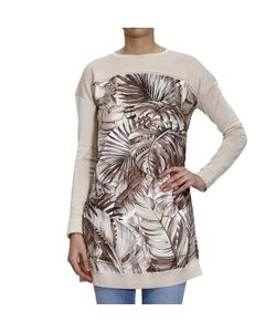 Salvatore Ferragamo | Sweater Knit Over With Leaf Printed Silk In The Front