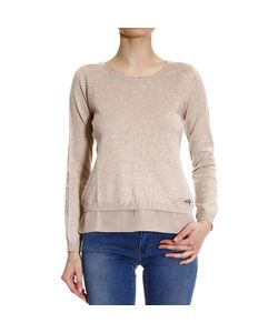 Fay | Sweater Knit Crew-Neck With Frill Silk E Hook