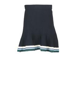 Victoria, Victoria Beckham   Stripe-Rib Knit Hem Flut Mini Skirt