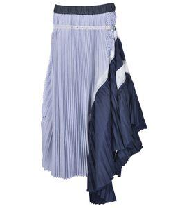 Sacai Luck | Pleated Asymmetric Midi Skirt