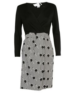 Diane von Furstenberg   Geometric Print Combo Wrap Dress