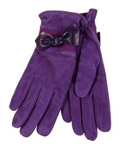 Restelli | Suede Gloves With Leather Bow