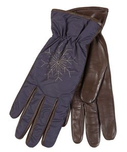Restelli | Nappa Leather Gloves With Snowflake Embroidery. Lined Rabbit