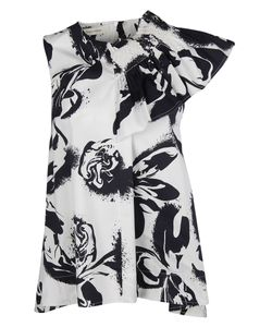Cédric Charlier | Abstract Print Ruffled Top