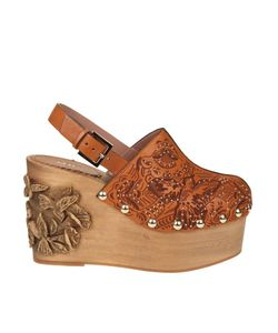 RED Valentino | Embellished Leather Wood Clogs