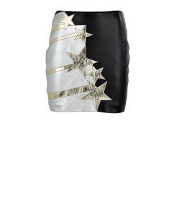 Faith Connexion | Stars-Patches Leather Mini Skirt