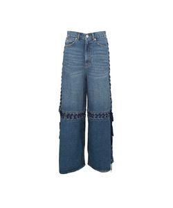 G.V.G.V.   G.V.G.V. Lace-Up Cotton-Denim Wide-Leg Jeans