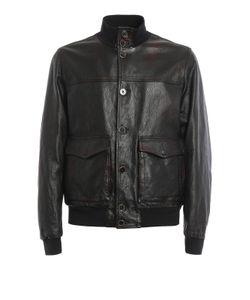 Fay | Leather Bomber Jacket