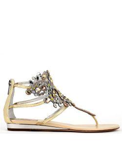 Rene Caovilla | Embellished Crystal Flat Sandals