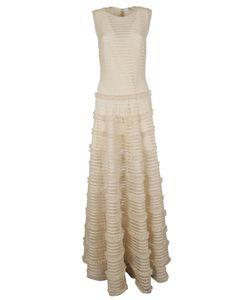 Givenchy | Ruffle Trim Sheer Stripe Evening Dress