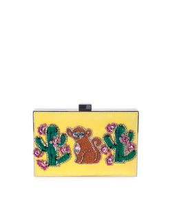 Gedebe | Boxy Monkey Cactus Embellished Suede And Metal Clutch