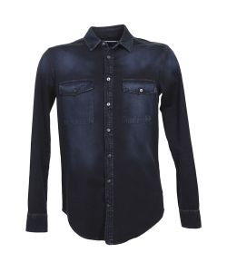 MSGM | Dark Denim Shirt With Print
