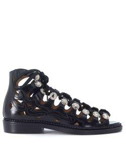Toga | Pulla Blackl Eather Sandal With Studs