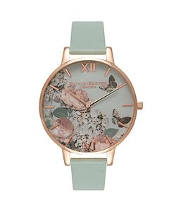 Olivia Burton | Ob16eg47 Enchanted Garden Leather Strap Watch Mint