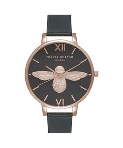 Olivia Burton | Ob16am98 Womens Animal Motifs Bee Leather Strap Watch /Rose