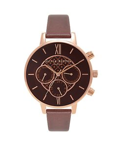 Olivia Burton | Ob16cg84 Big Dial Chrono Detail Chronograph Leather Strap Watch