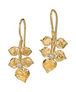 Dower & Hall | Topaz Wild Rose Leaf Drop Earrings