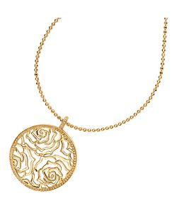 Dower & Hall | Wild Rose Flower Disc Pendant Necklace