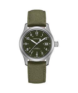 Hamilton   H69419363 Field Officer Handwinding Date Fabric Strap Watch