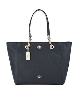 Coach | Turnlock Chain Crossgrain Leather Tote Bag