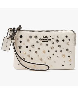 Coach | Leather Star Rivets Small Wristlet Purse Chalk