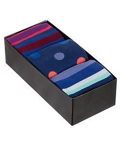 Paul Smith | Multi Stripe Dot Socks Pack Of 3 One Size