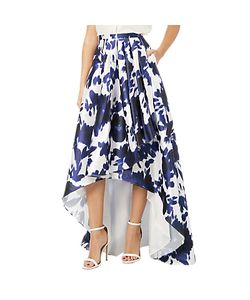 Adrianna Papell | Abstract Print Faille Side Pleat Skirt Midnight/Ivory