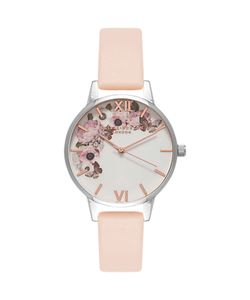 Olivia Burton | Ob16eg75 Enchanted Garden Leather Strap Watch Nude Peach/