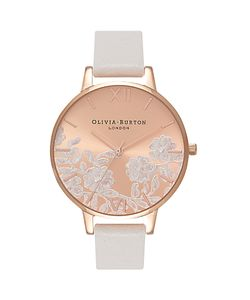 Olivia Burton | Ob16mv53 Lace Detail Leather Strap Watch Blush/Rose