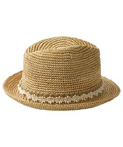 Fat Face | Lace Band Straw Trilby Hat Natural