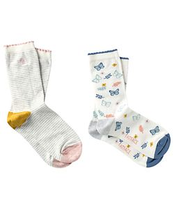 Fat Face | Stripe And Butterfly Print Ankle Socks Pack Of 2
