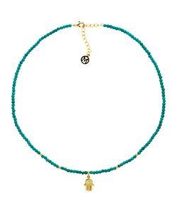 Melissa Odabash   Turquoise Bead Hamsa Hand Necklace