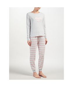 John Lewis | Lydia Heart Stripe Long Sleeved Pyjama Set