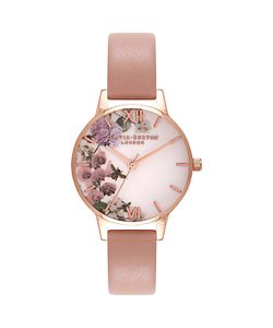 Olivia Burton | Ob16eg56 Enchanted Garden Leather Strap Watch Blush/