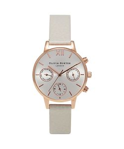 Olivia Burton | Womens Chrono Detail Midi Dial Chronograph Leather Strap Watch