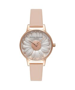 Olivia Burton | Ob16fs87 3d Flower Show Leather Strap Watch Nude