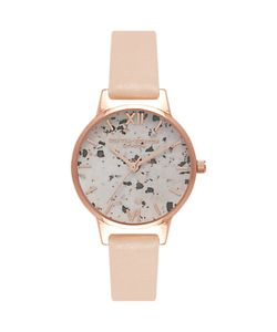 Olivia Burton | Ob16vm01 Vintage Marble Leather Strap Watch Nude Peach/Multi
