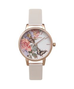 Olivia Burton | Ob15fs68 Enchanted Garden Leather Strap Watch Blush/Multi