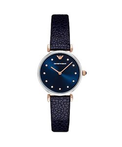 Emporio Armani | Ar1989 Womens Crystal Leather Strap Watch Navy