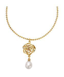 Dower & Hall | Wild Rose Flower Pearl Drop Pendant Necklace