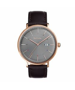 Paul Smith   Track Date Leather Strap Watch
